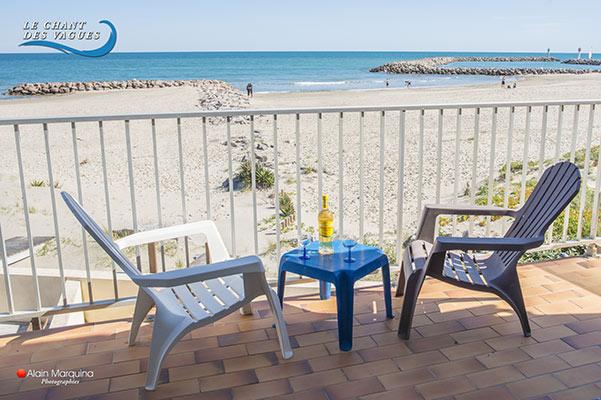 Balcon terrasse en front de mer. Appartement 1 Muscat de Frontignan