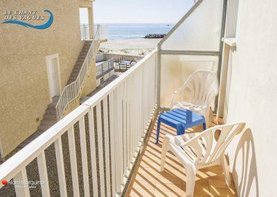 Balcon avec vue sur mer. Location de vacances au Chant des vagues à Frontignan