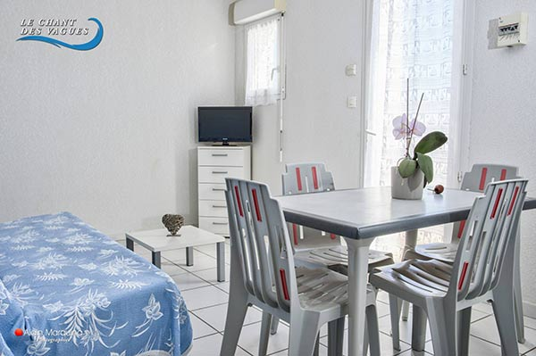 Le séjour, canapé et télévision, location de vacances au Chant des vagues à Frontignan