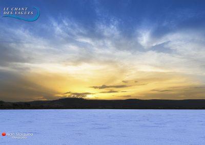Les salins de Frontignan au soleil couchant